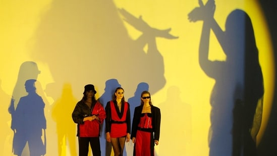 Models present creations by designer Yuliia Postushna during Ukrainian Fashion Week in Kyiv, Ukraine February 7, 2021. (REUTERS)