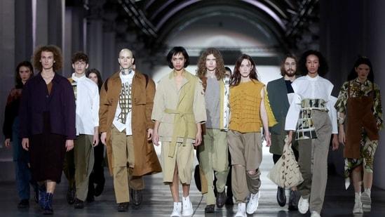 Models present creations by designer Anastasia Rozova during Ukrainian Fashion Week in Kyiv, Ukraine February 7, 2021. (REUTERS)