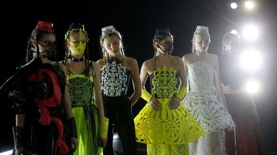 Models wait backstage at Ukrainian Fashion Week in Kyiv, Ukraine February 7, 2021. (REUTERS)