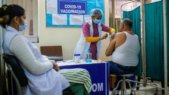 A man receives a Bharat Biotech's COVID-19 vaccine called COVAXIN, at a vaccination centre(REUTERS/File Photo)