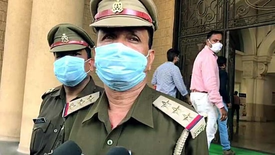Uttar Pradesh Police official speaks to media. Their average response time in urban areas stands 7 to 8 minutes, while in rural areas it is 15 to 20 minutes.(ANI/ File Photo)