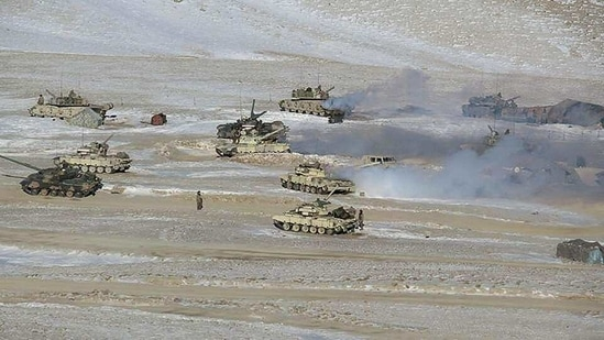 People's Liberation Army soldiers and tanks during military disengagement along the Line of Actual Control at the India-China border in Ladakh.(AFP Photo)