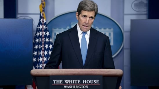 John Kerry, special presidential envoy for climate, speaks during a news conference in the James S. Brady Press Briefing Room at the White House in Washington, D.C., U.S., on Wednesday, Jan. 27, 2021. U.S. President Joe Biden will take executive action on Wednesday to combat climate change, including temporarily blocking new leases for oil drilling on federal lands, ordering a review of fossil-fuel subsidies and other measures to overhaul the U.S. energy mix. Photographer: Stefani Reynolds/Bloomberg(Bloomberg)