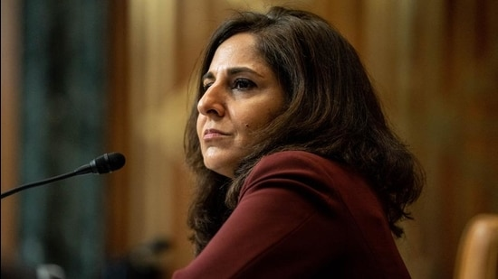 Neera Tanden, director of the Office and Management and Budget (OMB) nominee for US President Joe Biden, appears before a Senate Budget Committee confirmation hearing in Washington, DC on February 10, 2021. (Bloomberg)