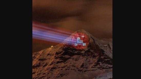 Switzerland's dazzling tribute to NASA Perseverance rover mission.(Instagram/@NASA)