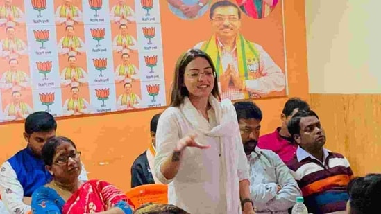"""""""I want a Criminal Investigation Department (CID) probe. BJP leader Rakesh Singh, who is close to Kailash Vijayvargiya, should be arrested. This is his conspiracy. I have all evidence,"""" Goswami, , the state secretary of Bharatiya Janata Yuva Morcha (BJYM), said while she was being taken to the court on Saturday. (pamela.goswami.5/Facebook Photo )"""