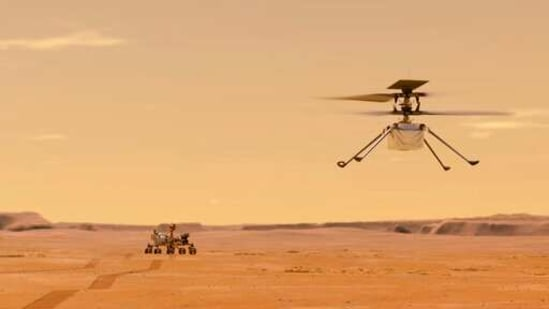 This illustration made available by NASA depicts the Ingenuity helicopter on Mars after launching from the Perseverance rover.((NASA/JPL-Caltech via AP))