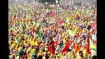 Farmers during a rally in Barnala on Sunday. (Sanjeev Kumar/HT)