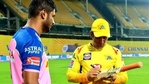 All-rounder Krishnappa Gowtham (L), former Indian captain MS Dhoni (R)(Twitter)