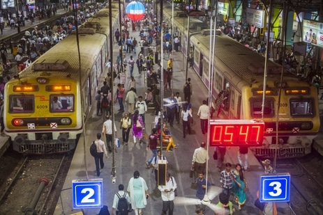 Commuters at Churchgate station in Mumbai, India(Pratik Chorge/Hindustan Times)