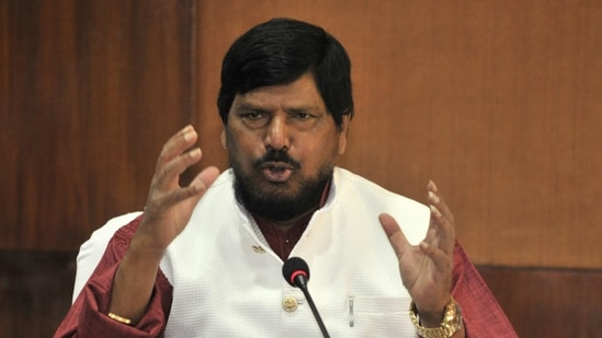 Ramdas Athawale Minister of State for Social Justice & Empowerment, addresses the press in this file picture. (Ravi Kumar/Hindustan Times)