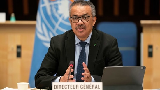 Tedros Adhanom Ghebreyesus, Director General of the World Health Organization (WHO) speaks during the 148th session of the Executive Board on the coronavirus disease (Covid-19) outbreak in Geneva, Switzerland.(Reuters)