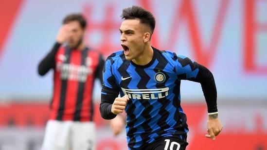 Inter Milan's Lautaro Martinez celebrates scoring their first goal(REUTERS)