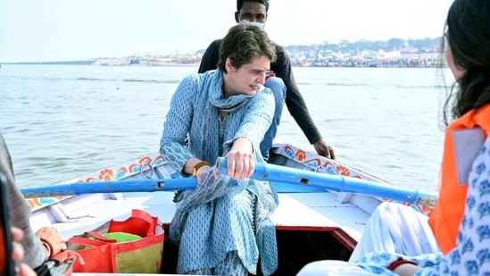 Congress general secretary Priyanka Gandhi Vadra rides a boat after taking holy dip on the occasion of 'Mauni Amavasya' festival during the ongoing 'Magh Mela', in Prayagraj on Thursday.(ANI Photo)
