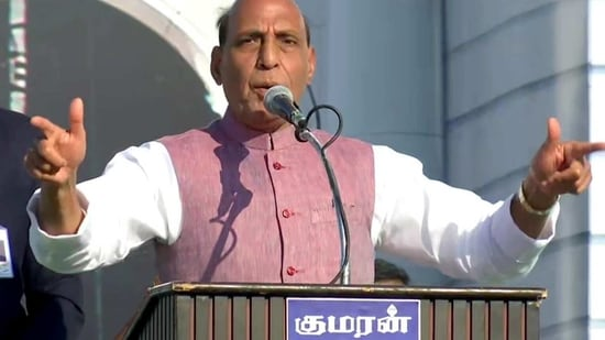 Defence Minister Rajnath Singh addresses during BJYM Convention, in Salem on Sunday. (ANI Photo)