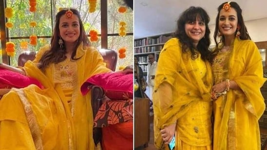 Dia Mirza at her mehendi ceremony(Instagram/theiatekchandaney)