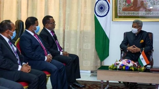 The agreements for the defence line of credit and developing the harbour at Uthuru Thila Falhu naval base were signed on the second and final day of external affairs minister S Jaishankar's visit to the Maldives.(DrSJaishankar/Twitter)