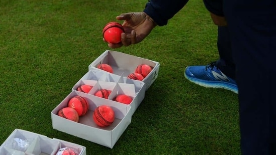 A box of pink balls during a nets session at Edgbaston on August 14, 2017 in Birmingham, England. (Getty Images)