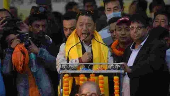 Bimal Gurung, leader of the Gorkha Janmukti Morcha (GJM) addresses supporters during a rally in Siliguri earlier in December.(AFP PHOTO.)