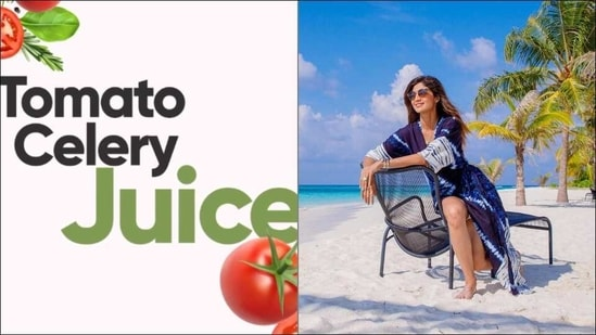 This Sunday give health a chance with Shilpa Shetty's Tomato Celery Juice recipe(Instagram/theshilpashetty)