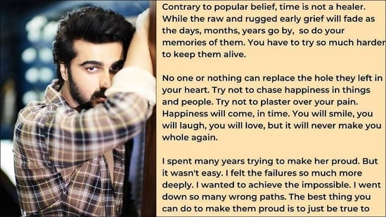 Arjun Kapoor shares heartwarming takeaways on grieving the loss of a loved one(Instagram/arjunkapoor)