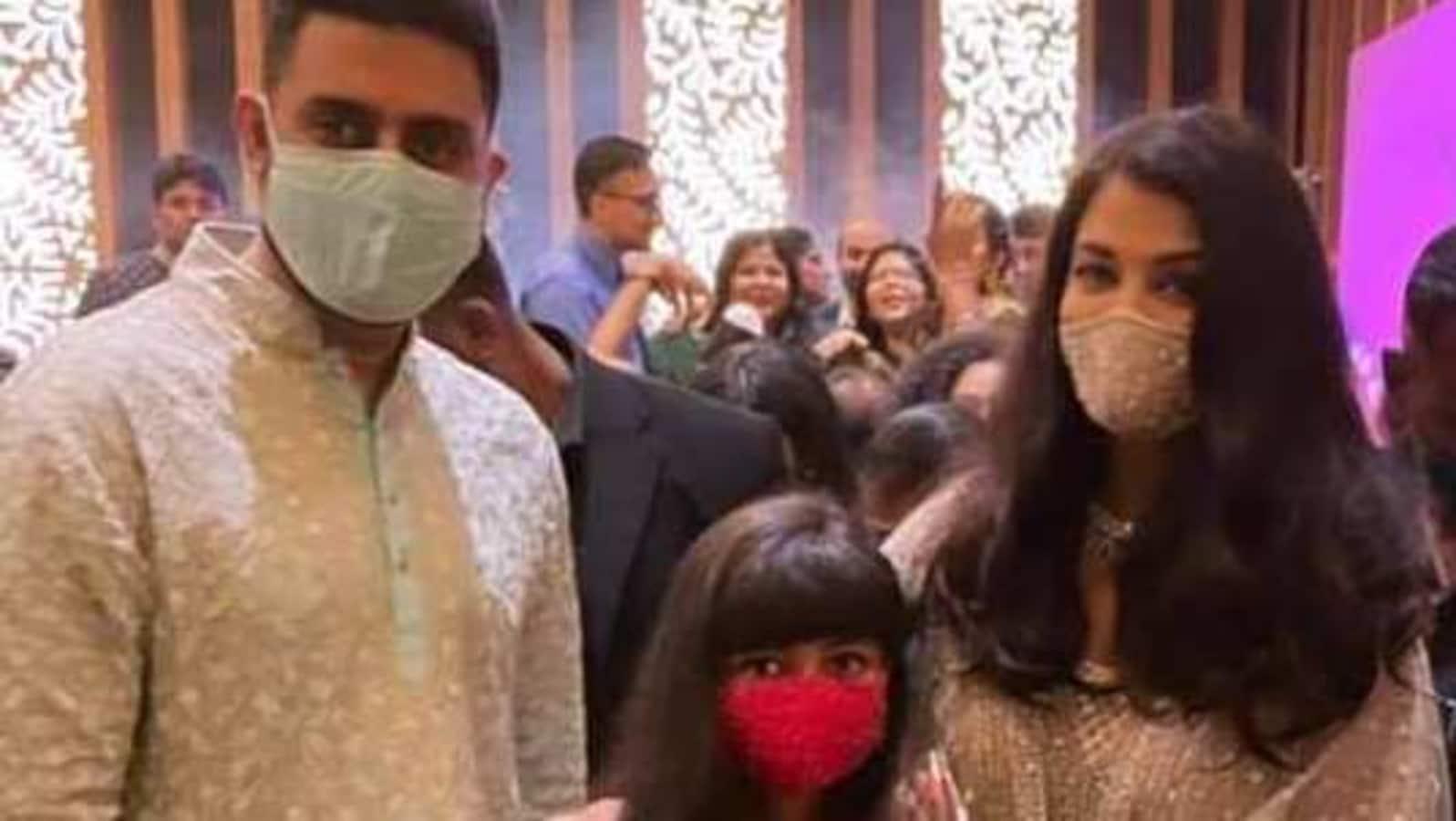 Aishwarya Rai, Abhishek Bachchan, Aaradhya spotted at wedding; check out their matching masks - Hindustan Times