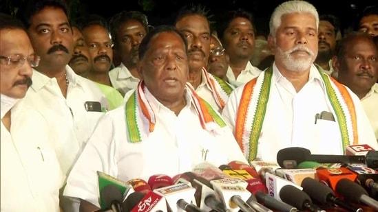 Puducherry CM V Narayanasamy speaking to media. (ANI File Photo )
