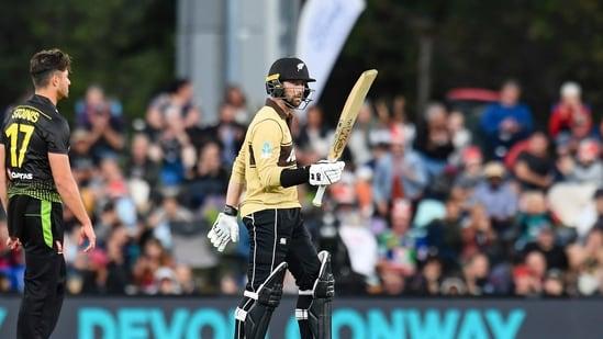 New Zealand's Devon Conway reacts.(AP)