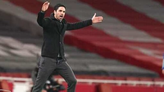 Arsenal's manager Mikel Arteta reacts during the English Premier League soccer match between Arsenal and Manchester City at the Emirates stadium in London.(AP)