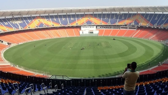 A general view of the Sardar Patel Stadium, the world's biggest cricket stadium, is pictured ahead of the third Test match between India and England, in Motera on the outskirts of Ahmedabad. (AFP)