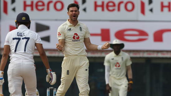 James Anderson cleans up Shubman Gill on final day of first Test in Chennai(Twitter)