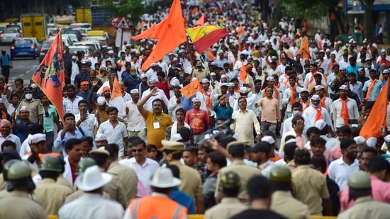Members of the Panchamasali (Lingayat) community during a rally demanding for the inclusion of Lingayat community in the 2A reservation category, in Bengaluru, Sunday, Feb. 21, 2021.(PTI)