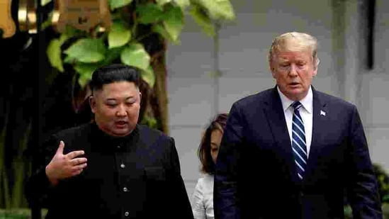 North Korea's leader Kim Jong Un and US president Donald Trump talk during the second North Korea-U.S. summit in Hanoi, Vietnam on February 28, 2019.(Reuters File Photo)