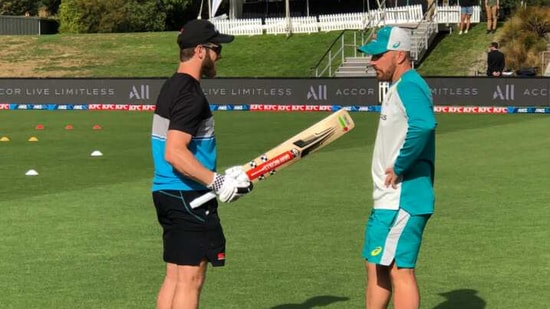 Kane Williamson and Aaron Finch before the match.(@BLACKCAPS)