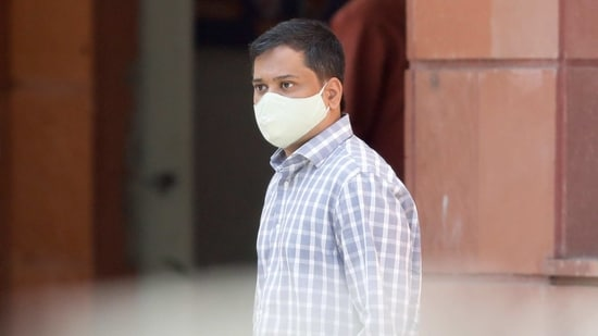 Shantanu Muluk, a climate activist, arrives at National Cyber Forensic Lab for an investigation, in New Delhi.(REUTERS)