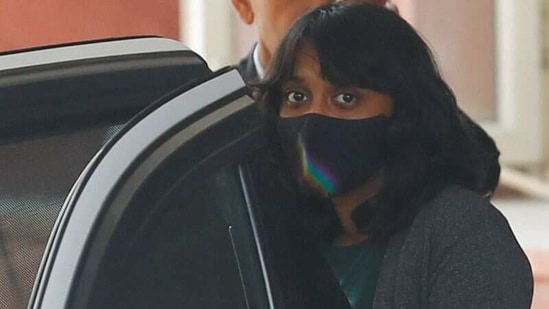 Disha Ravi leaves after an investigation at National Cyber Forensic Lab, in New Delhi, on Tuesday.(Reuters Photo)