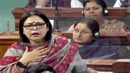 BJP Lok Sabha MP from New Delhi Meenakshi Lekhi speaks during the Budget Session of Parliament in New Delhi on Tuesday. (ANI Photo/ LSTV Grab)