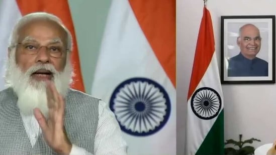 Prime Minister, Narendra Modi addressing at the IIT-Kharagpur Convocation through video conferencing, in New Delhi on Tuesday. (ANI Photo)