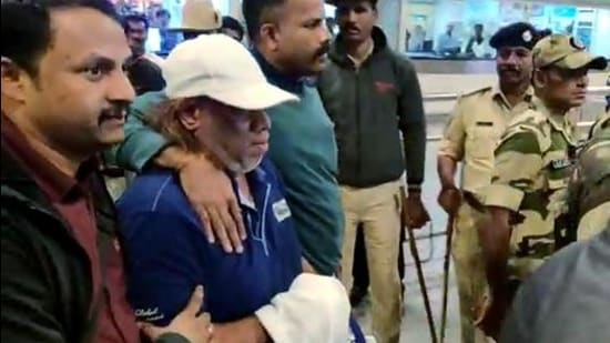 Ravi Pujari being brought to Bengaluru after he was arrested and extradited from the west African country of Senegal, in 2020. (ANI)