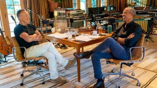 In the show, Obama and Springsteen discuss topics spanning race, fatherhood, marriage, and the state of America. The starting couple of episodes of the podcast will be available exclusively on Spotify worldwide, starting February 22.(AP)