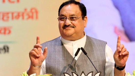 BJP president J P Nadda addresses the concluding session of the party's national office-bearers meeting, at on Sunday.(PTI Photo)
