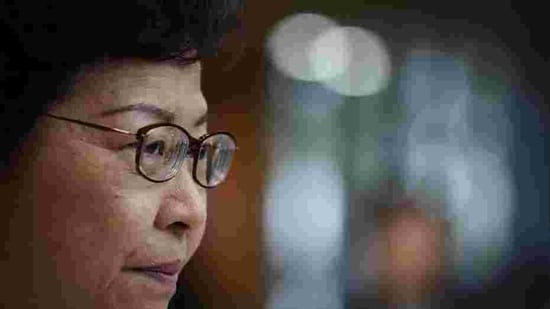 """Hong Kong Chief Executive Carrie Lam said people were """"sick and tired"""" of violence in Hong Kong and intervention by foreign forces in the city.(AP file photo)"""