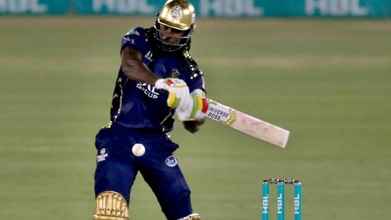 Quetta Gladiators' Chris Gayle plays a shot during a Pakistan Super League T20 cricket match between Lahore Qalandars and Quetta Gladiators at the National Stadium, in Karachi, Pakistan, Monday, Feb. 22, 2021. (AP Photo/Fareed Khan)(AP)