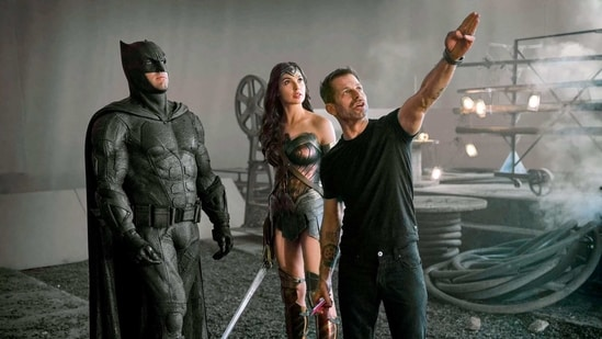 Ben Affleck and Gal Gadot with Zack Snyder.