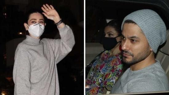 Karisma Kapoor, Soha Ali Khan and Kunal Kemmu were snapped outside Saif Ali Khan and Kareena Kapoor Khan's residence on Tuesday.(Varinder Chawla)