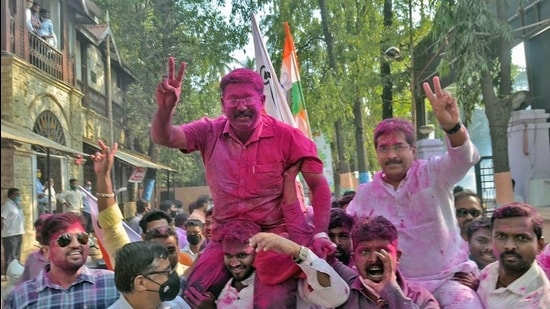 Local party workers celebrate Sangli's newly elected mayor Digviijay Suryvanshi and deputy mayor Prithviraj Patil on Tuesday. (UDAY DEOLEKAR)