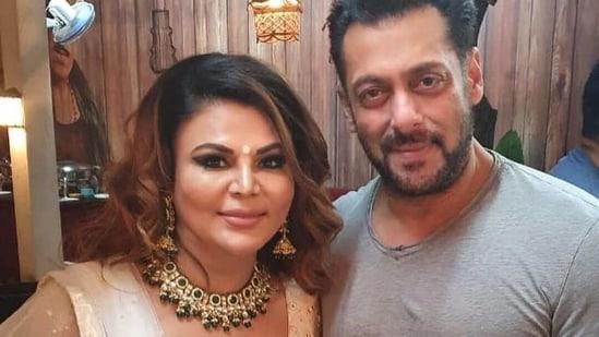 Rakhi Sawant poses with Salman Khan.