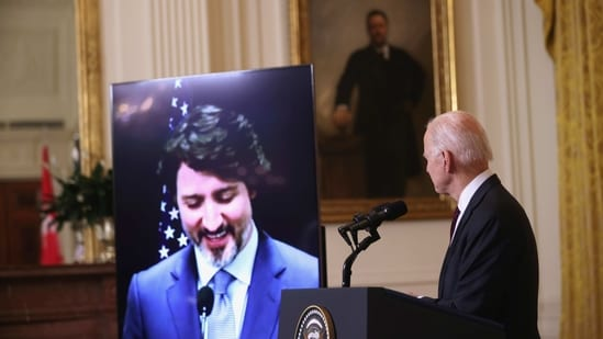 U.S. President Joe Biden and Canada?s Prime Minister Justin Trudeau, appearing via video conference call, give closing remarks at the end of their virtual bilateral meeting from the White House in Washington, U.S. February 23, 2021. REUTERS/Jonathan Ernst(REUTERS)