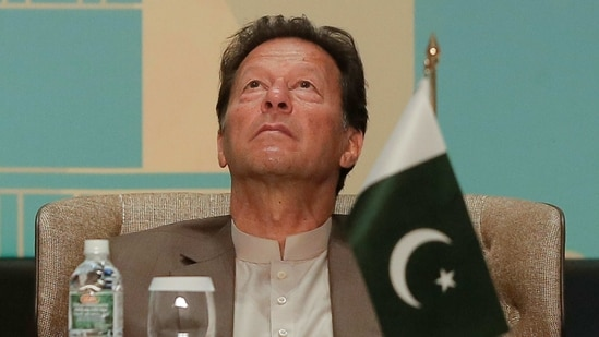 Pakistan's Prime Minister Imran Khan Khan looks on at the Trade and Investments conference during his two-day visit in Colombo, Sri Lanka February 24, 2021. (REUTERS)