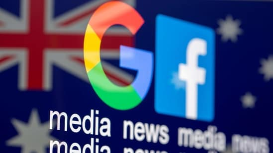 "The Google and Facebook logos, the words ""media, news, media"" and the Australian flag are displayed in this illustration.(Reuters)"